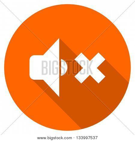 speaker volume vector icon, orange circle flat design internet button, web and mobile app illustration
