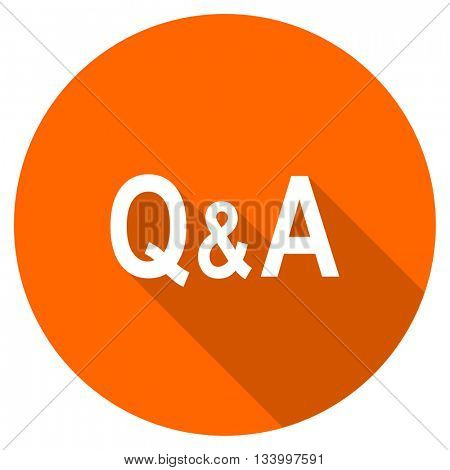 question answer vector icon, orange circle flat design internet button, web and mobile app illustration