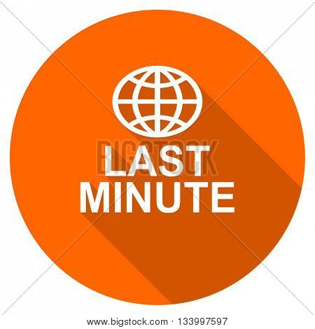 last minute vector icon, orange circle flat design internet button, web and mobile app illustration