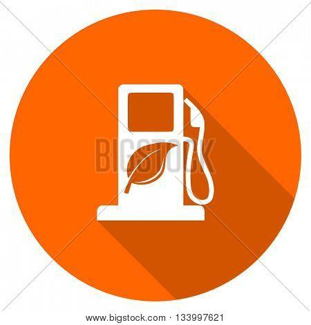 biofuel vector icon, orange circle flat design internet button, web and mobile app illustration