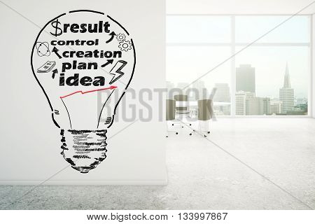 Business idea concept with lightbulb sketch on light concrete office wall