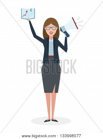 Business woman with book and megaphone on white background. Isolated businesswoman holding loudspeaker and book. Announcement and advertising. Attention please. Loud voice.