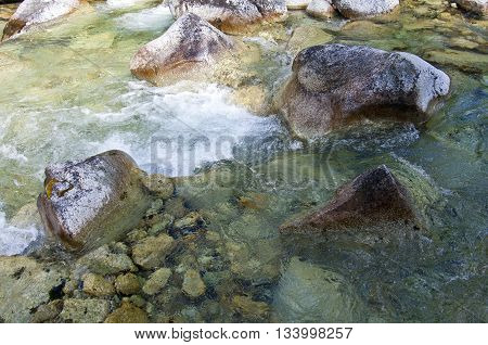 Creek Water With Large Rocks
