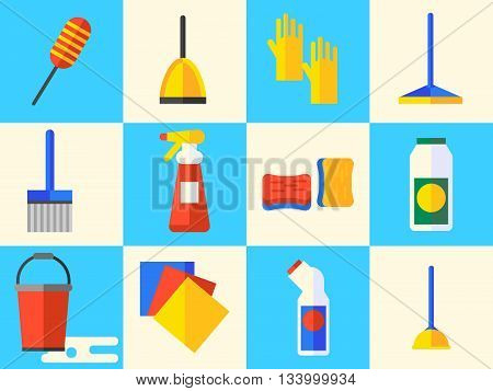 Cleaning icons vector flat design modern concept good saturation of colors. Very easy to edit and recolor.
