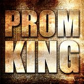 prom king, 3D rendering, metal text on rust background poster