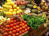 picture of barter  - a close-up of a market stall showing the fresh produce.