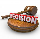 Decision - Judge Gavel And Word