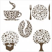 stock photo of apple tree  - Restaurant Icons In Form Of Tree Coffee Grain Cup Box And Plate With Plug And Spoon Isolated On White Background Vector Illustration - JPG
