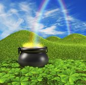 stock photo of end rainbow  - a pot at the end of the rainbow shown surounded by a lucky clover garden and roling hills of grass in the background - JPG