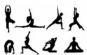 stock photo of yoga silhouette  - yoga poses silhouettes on a white background - JPG