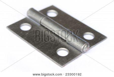 Close up of metal hinge