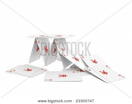 Yen Card Tower. Isolated On The White Background