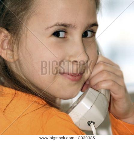 Happy Girl With Analog Phone
