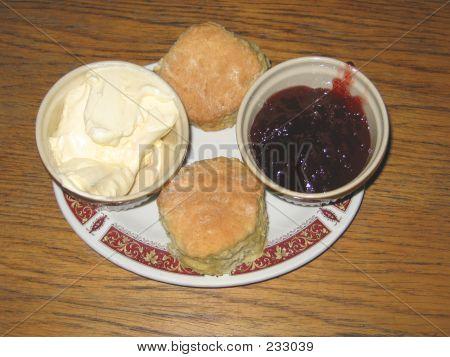 Devon Scones, Clotted Cream And Jam