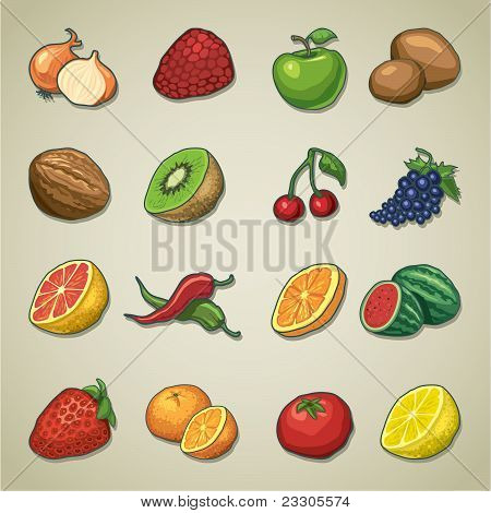 Freehands icons - fruits and vegetables