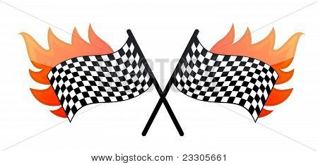 Illustration of the burning checkered racing flag