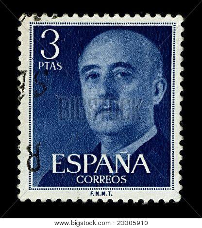 SPAIN-CIRCA 1955:A stamp printed in SPAIN shows image of Francisco Paulino Hermenegildo Teodulo Franco y Bahamonde  known simply as Francisco Franco was a Spanish dictator, military general,circa 1955
