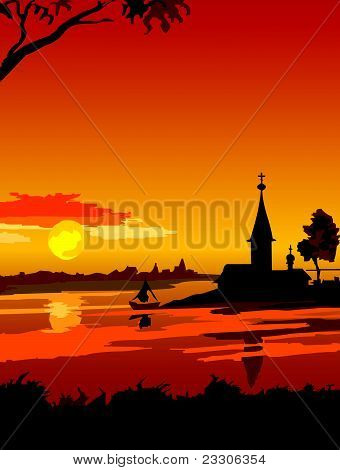 Russian North sunset