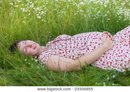 Pregnant Woman With Closed Eyes