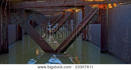 Train bridge, during flood
