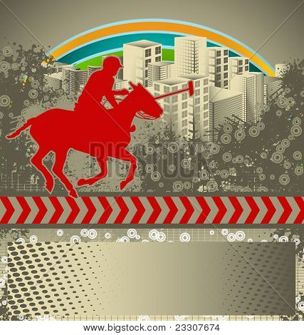 Abstract Grunge Background With Polo Player Silhouette