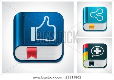 Vector social media sharing square icon set