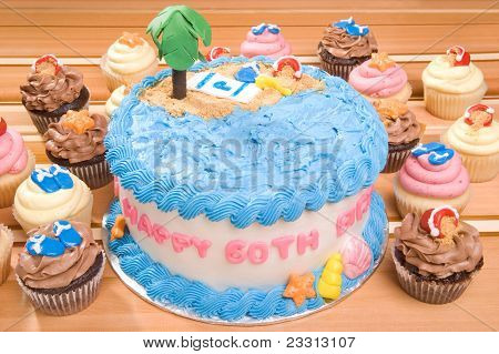 Beach-themed Birthday Cake