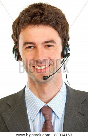 Portrait Of Smiling Businessman With Headset