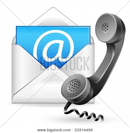 contact us vector icon - e-mail and phone