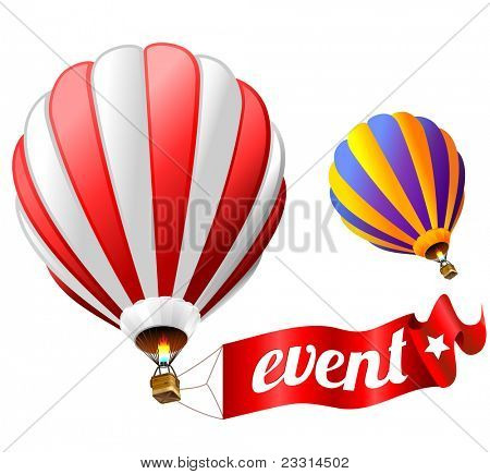 festival holiday event sign with two hot air balloons