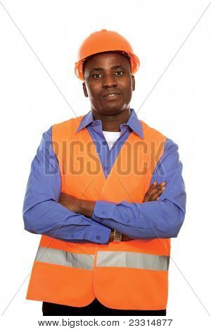 Young architect, engineer, or supervisor in orange hardhat with filded arms isolated