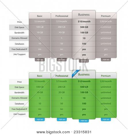 Vector Price Table Templates