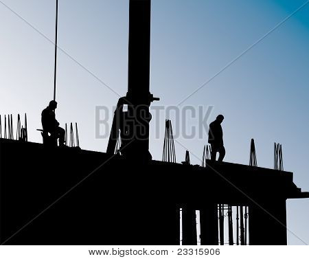 Construction Site With Crane And Workers