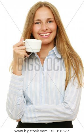 Smiling bndeautiful business woman with cup of coffee isolated on white backgrou