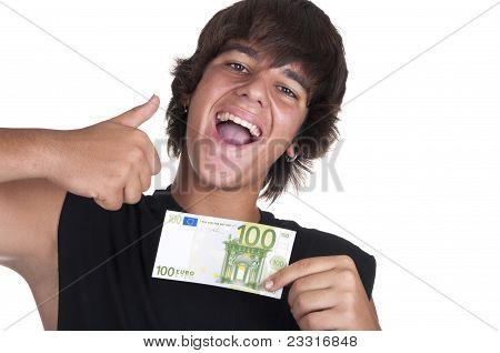 Teenage Boy With A Ticket Of 100 Euros