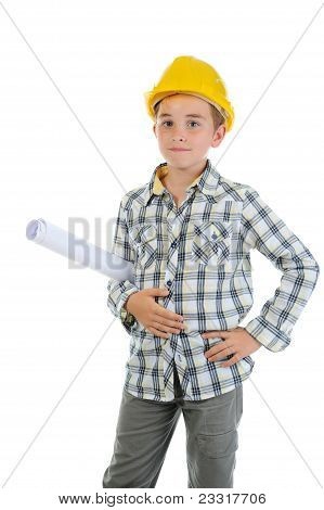 Little smiling builder in helmet