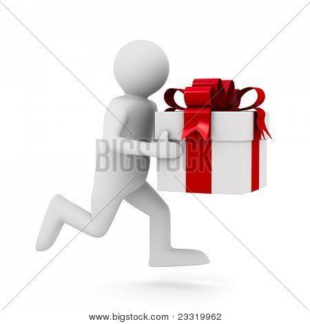 Hombre con caja de regalo blanca. Imagen 3D aislada