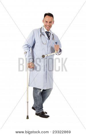 Injured Caucasian Man Doctor