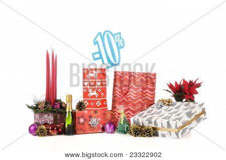 Signo de descuento sobre compras navideñas