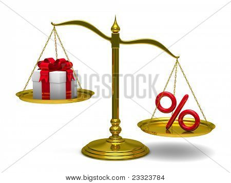 Gift box and percent on scales. Isolated 3D image