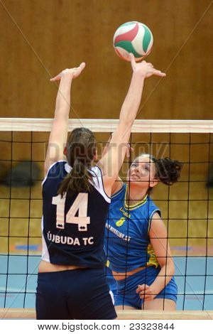 KAPOSVAR, HUNGARY - APRIL 24: Barbara Balajcza (blue 8) in action at the Hungarian NB I. League woman volleyball game Kaposvar (blue) vs Ujbuda (black), April 24, 2011 in Kaposvar, Hungary.