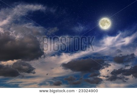 Sky With Moon And Stars