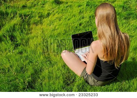 Girl With Laptop Sitting