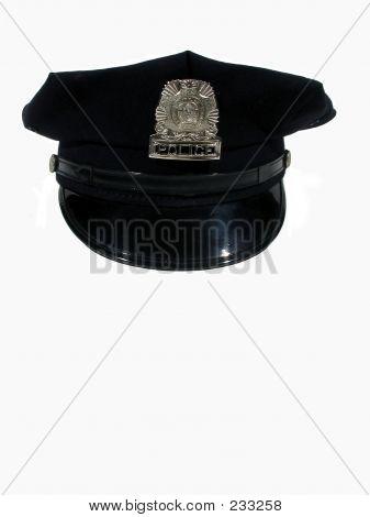 Chapéu de polícia em frente