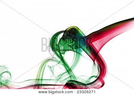 smoke of different colors on a white background
