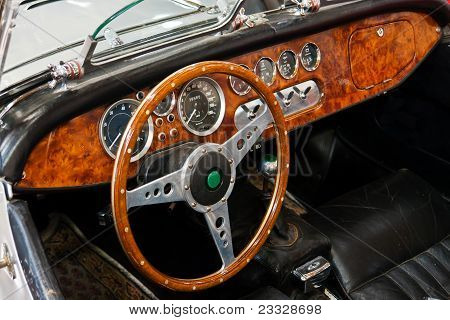 Interior And Dashboard On A Vintage Sports Car