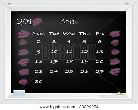 2012 April Calendar