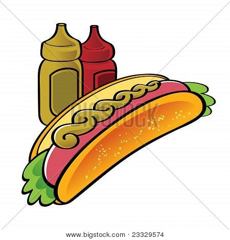 Hot Dog fast food catchup mustard sausage