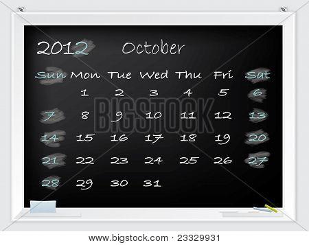 2012 October Calendar
