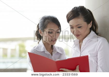 Asian Business Women Reading Documents